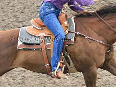 Barrel racing saddle close up