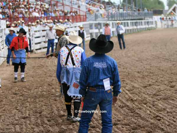 Waiting for the next bull out of the chute