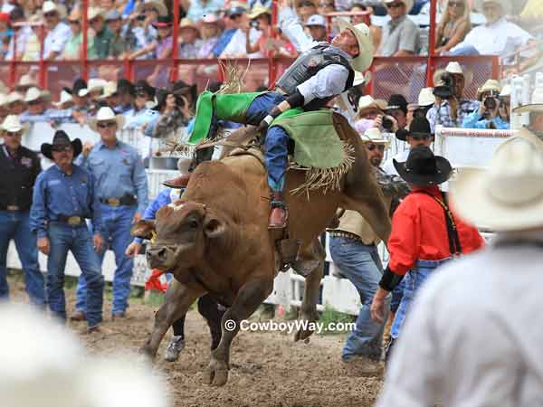 Bull riding at Cheyenne Frontier Days.