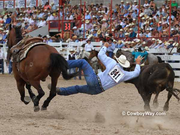 A steer wrestler misses his steer