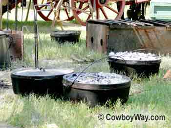 Dutch ovens at a cowboy camp