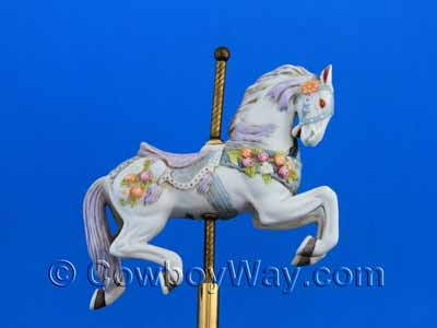 Close-up photo showing the detail on a carousel horse
