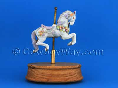 An ornate musical carousel horse in a dramatic pose