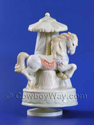 A high-gloss musical carousel horse