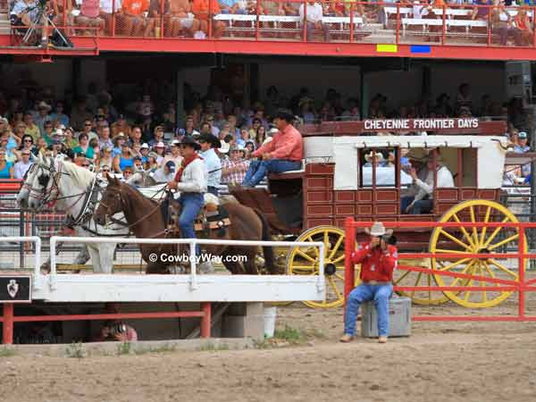 Dignitaries getting introduced at the Cheyenne Frontier Days Rodeo