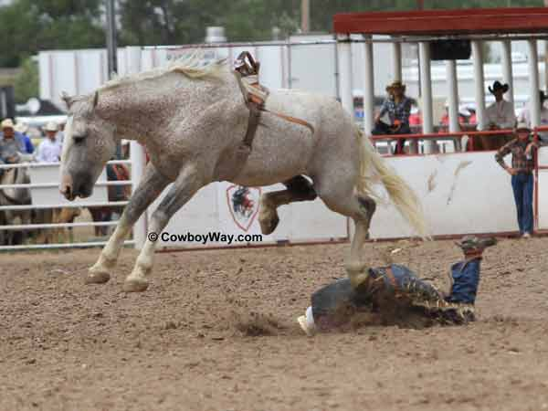 A bronc rider gets a rough dismount