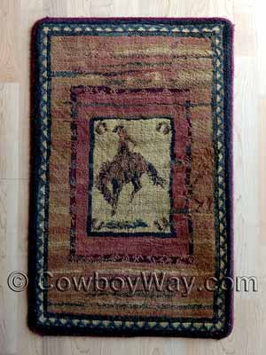 An area rug with a cowboy and Western design
