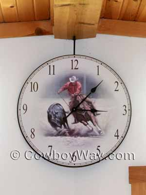 Wall clock with cowboy and horse