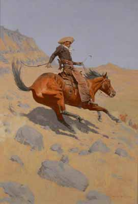 Depiction of an original painting by cowboy artist Frederic Remington