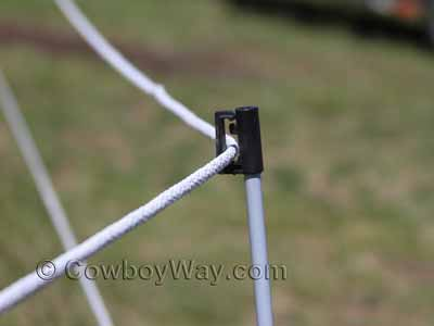 An electric braid fence for horses or other livestock