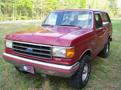 A red Ford Bronco