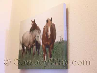 Gallery wrap canvas art of three horses