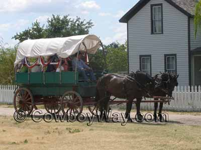 A covered wagon used for wagon rides