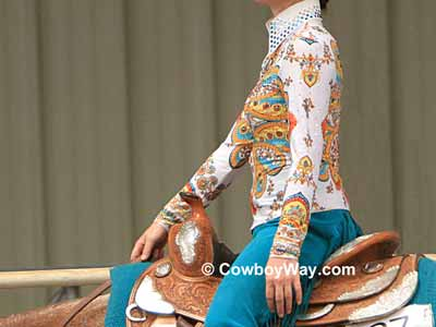 Teal and white horsemanship shirt