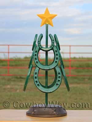 A Christmas tree made from horseshoes