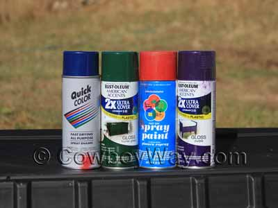 Four colors of spray paint