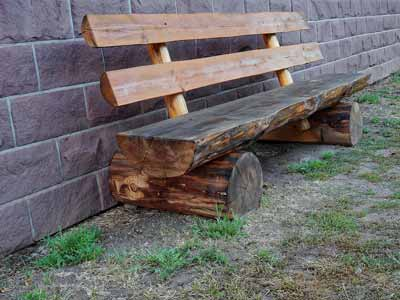 A rustic log bench with a back
