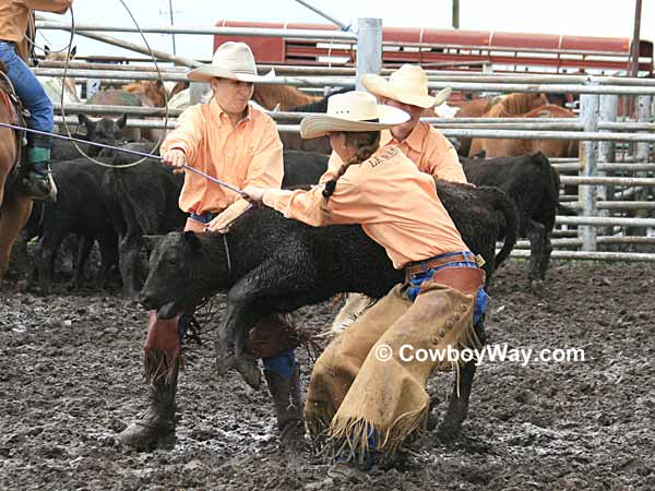 Three cowgirls try to mug a calf in the mud