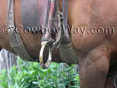 Oxbow stirrups on a ranch saddle