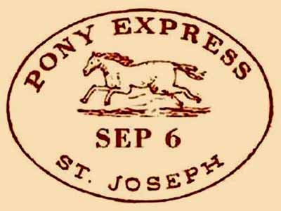 The flying gallop as shown in an 1860s postmark for the Pony Express