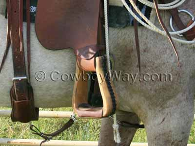 Close-up photo of roping stirrups