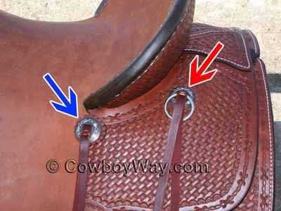 Two slotted conchos on a saddle