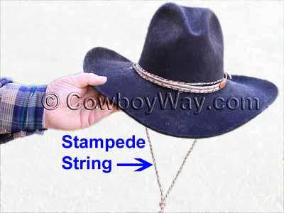 Stampede string on a cowboy hat