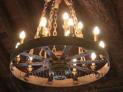 Lighted wagon wheel chandelier