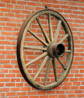 A large wooden wagon wheel