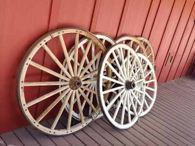 Different sizes of wagon wheels