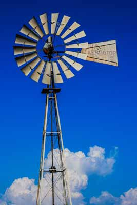 A metal windmill, the look that windmill ceiling fans are based on