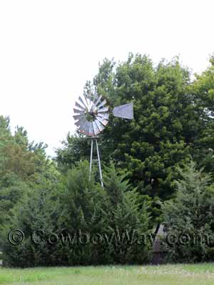 A windmill surrounded by trees