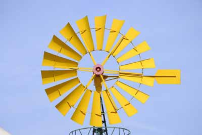 Close up of a windmill's fan-type blades
