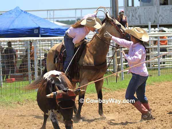 The doctoring event in a women's ranch rodeo