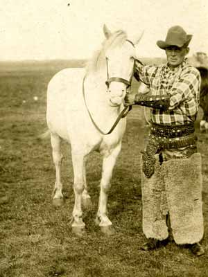 Pair of wooly chaps on a Canadian cowboy