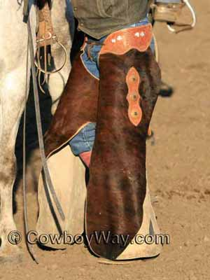 Hair-on-hide batwing chaps for protection