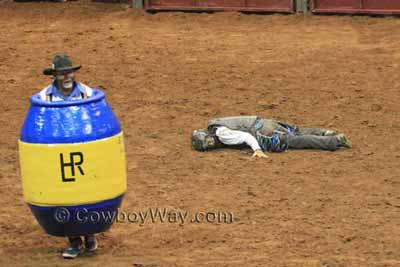 A rodeo clown/barrel man watches a bull while he waits by a fallen bull rider