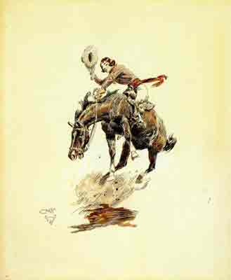 A cowgirl riding a bucking horse