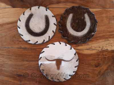 Three coasters made of cowhide