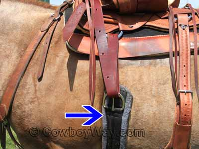 A cinch on a Western saddle
